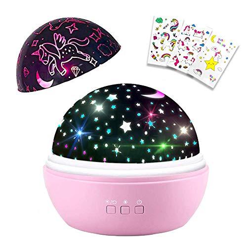 DQMOON Nachtlicht Mädchen,Nachtlicht Einhorn,Sternenhimmel Projektor für Kinder, Kinderzimmer Dekoration,Mädchen Geschenke 2 3 4 5 6 7 Jahre,Spielzeug für Mädchen Alter 1-13 (Pink)