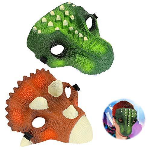 Laelr Simulation Dinosaurier Maske, 2er Pack Jurassic World Raptor Maske Dino Jaw Maske Velociraptor Maske für Jungen Mädchen Geburtstagsfeier Halloween