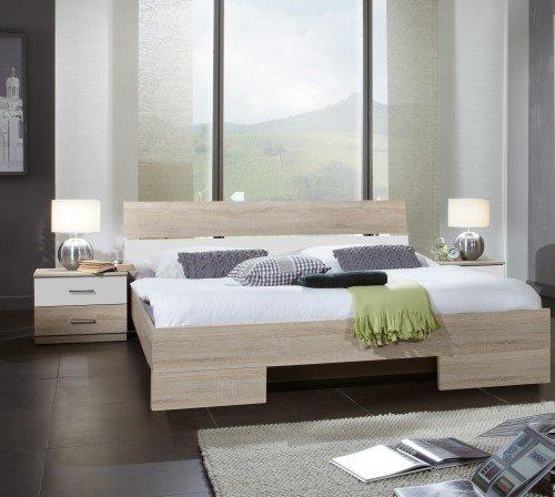 Wimex Schlafzimmer Set Alina, Bestehend aus Bett und Nachtschränken, Liegefläche 140x200 cm, Eiche Sägerau