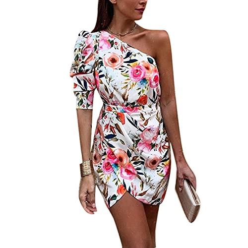 Suncolour Señoras Que Imprimen los Mini Vestidos Atractivos de la Raja Lateral del Vestido del Vintage con la Pendiente del Hombro