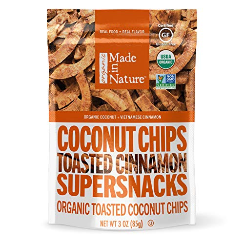 Made in Nature Organic Toasted Coconut Chips, Vietnamese Cinnamon, Vegan Snack, 9 Ounce Bag
