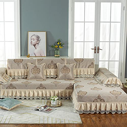 KENEL Sofá Multifuncional con Four Seasons en Felpa, Funda de sillón Funda de sofá en Forma de l, Cojín de sofá de Encaje de falda-80 * 240 + 20cm Falda_Caqui-Vendido en Pedazos