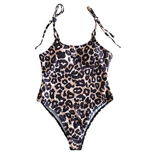 BBestseller Bikinis Mujer, Bañador de una Pieza con Correa de Leopardo y Correa de Leopardo Honda 1 Pieza Bikini Push Up Traje De Baño Ropa De Playa (s, Marron)