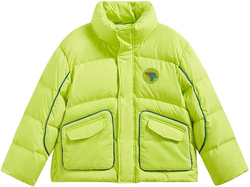 Warm Clothes Boys Girls Winter Puffer Kids Puffer Jacket with Hood Lightweight Jacket Quilt Lined Jacket Coat Universal (Color : Green|,| Size : X-Large)