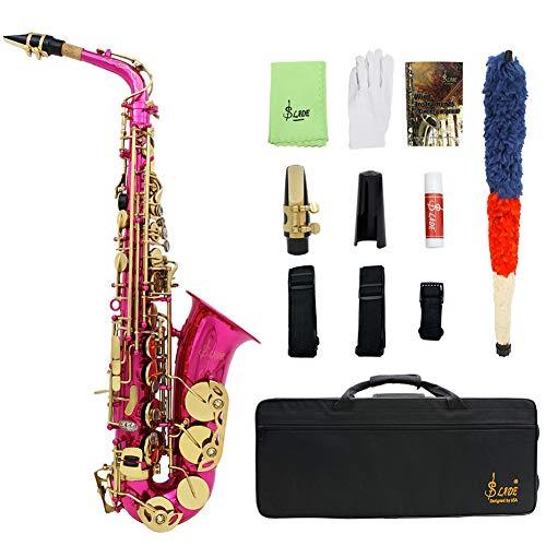 Ljrtre Alt Saxofoon Rose Red Es-zwart Altsaxofoon WSS896RS abalone Shell Sleutelpatroon met val handschoenen doek riem