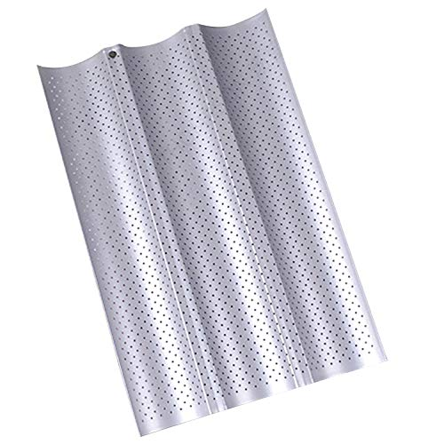 Nonstick Perforated Baguette Pan 15' x 10' for French Bread Baking 3 Wave Loaves Loaf Bake Mold Toast Cooking Bakers Molding 3 Gutter Oven Toaster Pan Cloche Waves Silver Steel Tray