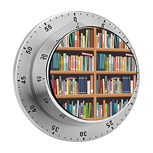 Library Bookshelf Mechanical Timer with Loud Alarm Stainless Steel No Batteries Required Countdown Reminder for Cooking Reading Do Sports