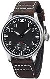 Fanmis 44mm Black Dial Luminous Dark Brown Leather Strap Wrist Watch Hand-Wound Movement