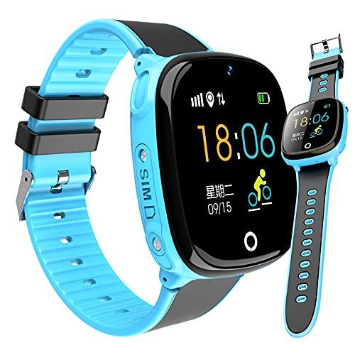 HQPCAHL Smartwatch Phone IP67 Impermeable Niños Niñas con Pantalla Táctil Cámara Alarma Llamada GPS - Reloj De Teléfono Reloj De Pulsera Digital para Niños Regalo De Cumpleaños,Azul