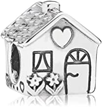 MiniJewelry Compatible with Pandora Charms Bracelets Sweet Home Family House Charm for Bracelets Home Sweet Home Happy Family Charm Sterling Silver Charms for Daughter Sister Women Girls