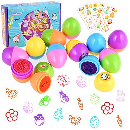Faburo 12pz Uova di Pasqua per Bambini Kit di Guarnizioni, 5pz Adesivi Pasquali Timbro Autoinchiostrante Colorati a Forma di Uovo Giocattoli Craft Party Game Gift
