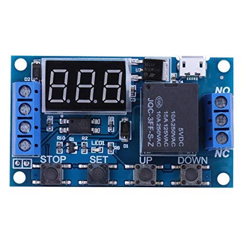 sjlerst Zyklusverzögerungs-Timer-Schaltermodul, DC 6V ~ 30V Triggerverzögerung EIN/Aus Zyklus-Timer-Relais-Schaltermodul mit Ziffern-LED-Anzeige Micro-USB 5V Mit optischer Kopplungsisolation
