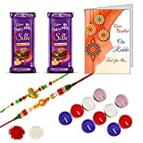 DishanKart 2 Rakhi for Brother with Roli Chawal Tilak Kumkum 2 Cadbury Chocolate