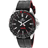 Casio Edifice Men's 41mm Stainless Steel Quartz Analog Watch with 21mm Leather Band (EFV-120BL-1AVCR)