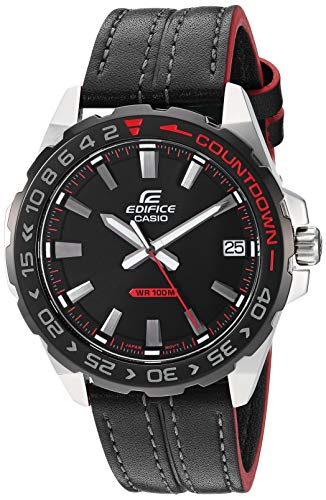 Casio Men's Edifice Stainless Steel Quartz Leather Strap, Black, 21 Casual Watch (Model: EFV-120BL-1AVCR)