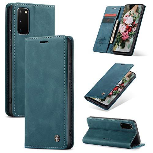 FMPC Handyhülle für Samsung Galaxy A31 Premium Lederhülle PU Flip Magnet Hülle Wallet Klapphülle Silikon Bumper Schutzhülle für Samsung Galaxy A31 Handytasche - Blaugrün