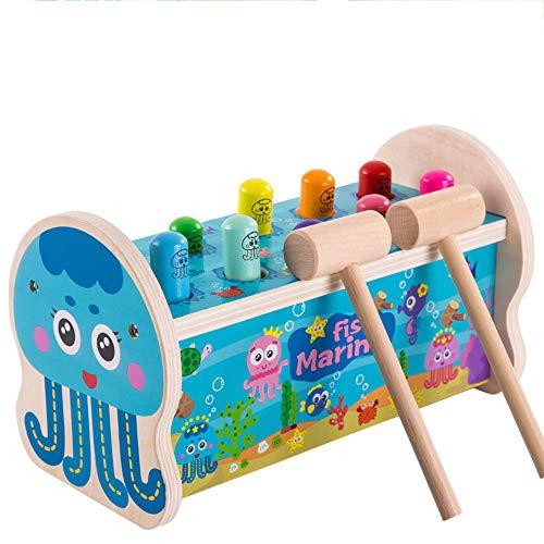 kids toys Dessin animé en Bois Hamster Jouet 10 Trous Hamster Jouet Double Marteau Jouet interactif 1 à 6 Ans Enfants Jouets éducatifs