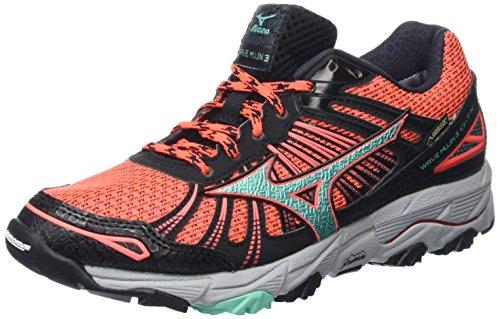 Mizuno Wave Mujin 3 G-tx - Zapatillas de running para mujer, color rosa - pink (fiery coral/electric green/black), talla 36.5 EU