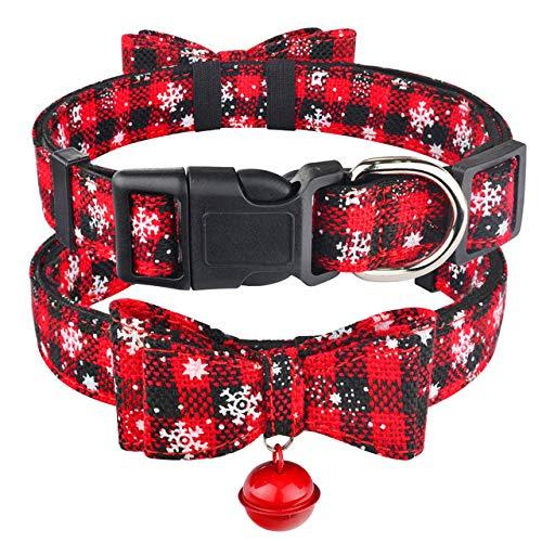 ZIYUAN Collar Perro Collar De Perro De Navidad Y Tela De Campana para Mujer Maleppy Pet Bow Tie Ajustable XS-L, Negro, L 40-65Cm