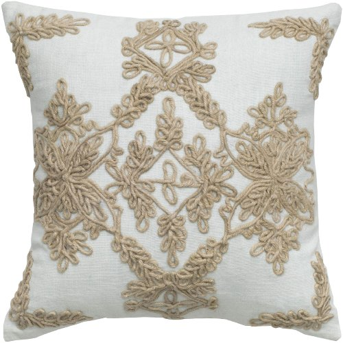 Rizzy Home T05021 Jute Embroidery And Cording Details Applique Decorative Pillow 18 By 18 Inch Ivory Jaeuqaysxzi 05
