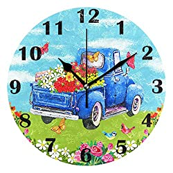 Pfrewn Spring Flowers Truck Butterfly Birds Wall Clock Silent Non Ticking Sunflower Daisy Lily Clocks Battery Operated Vintage Desk Clock 10 Inch Quartz Analog Quiet Bedroom Living Room Home Decor
