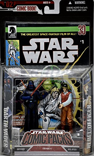 Star Wars - No. 2 Comic Pack - Darth Vader & Rebel Officer Figures - Dark Horse Star Wars #1 Comic - Limited Edition - Mint - Collectible - (PR) by Toy Rocket (English Manual)