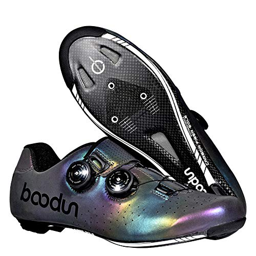 JINGJIE Cycling Shoes Road Cycling Shoes Breathable Colorful at Night Carbon Fiber Sole Bicycle Lock Shoes,39