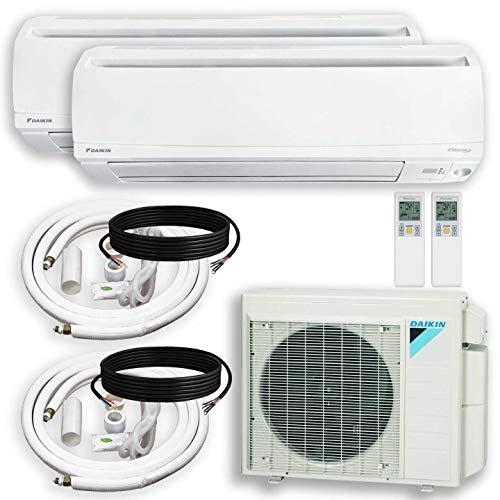 DAIKIN Dual (2 Zone) Air Conditioner Heat Pump + Maxwell 15 ft. Installation Kit + Wall Bracket (9000 + 9000 BTU)