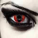 "Designlenses, Dos lentillas de colores rojas para Halloween costume ojo de gato/dragón lentes de tres meses sin dioprtías/corregir + gratis caso de lente ""Death Dragon'"