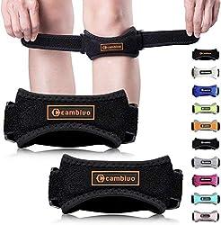 CAMBIVO 2 x Patella Kniebandage, Knieband, verstellbare Patella Band für Damen und Herren beim Sport, Wandern, Fitness, Volleyball (Schwarz/Orange)