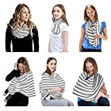 Jeanishiel Nursing Cover Breastfeeding Scarf - Baby Multi use Car Seat Canopy for Girls and Boys, Infant Stroller Cover, Light Blanket (Gray))