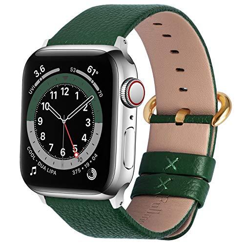 Fullmosa kompatibel mit Apple Watch Armband 44mm 42mm 40mm 38mm Series SE/6/5/4/3/2/1, Leder Ersatzarmband für iwatch original Band,Dunkelgrün+goldene Schnalle 42mm/44mm