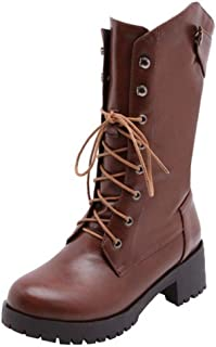 RizaBina Women Block Heels Mid Calf Boots Lace Up Martin Boots