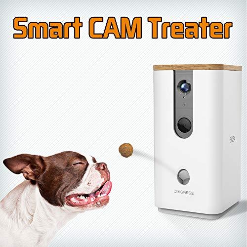 DOGNESS Leckerli-Spender mit Kamera-Monitor für Haustiere aus der Ferne mit HD-Video, Zwei-Wege-Audio, Nachtsicht für Hunde und Katzen