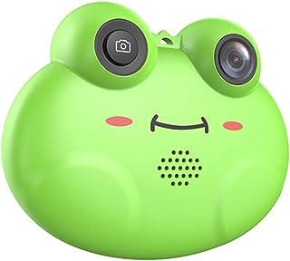 Honeytecs Mini Kids Digital Video Camera Cute Cartoon Frog Shape Built-in Lithium Battery Birthday Festival Gift Commencement Day Present for Children Boys Girls