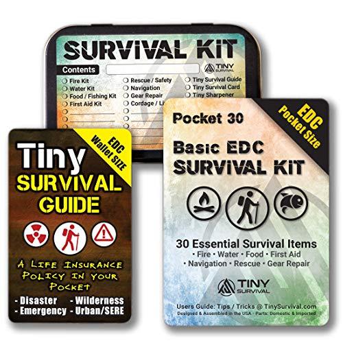 DIY - Ultimate EDC Basic Pocket Survival Kit: 34-in-1 Build Bundle: Pocket 30 Kit + Tiny Survival Guide + Survival Tin Kit/Do-It-Yourself Emergency, Disaster Kit - Great Gift!