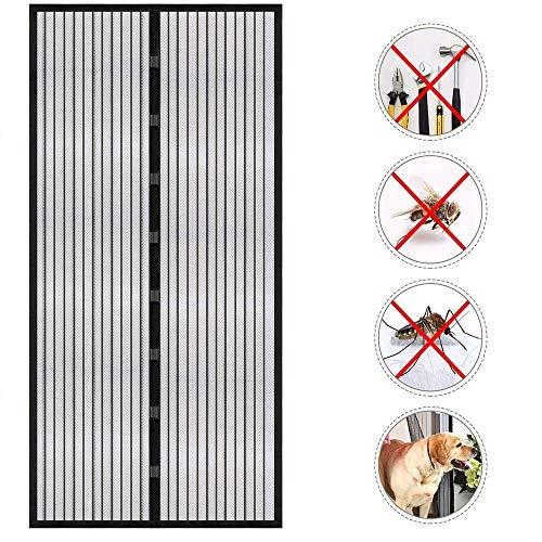 Magnet Fliegengitter Tür, Kucosy Insektenschutz Fliegengitter Balkontür 100x210 Magnetischer Fliegenvorhang Automatisches Schließen Moskitonetz Vorhang für Balkontür Wohnzimmer