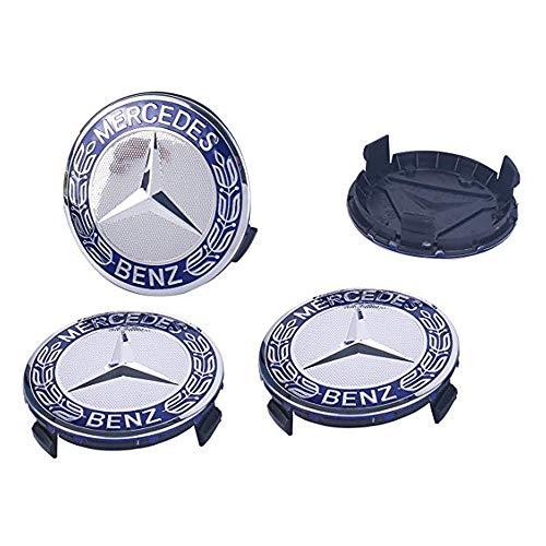 Gaocar Auto Parts 4Pack Mercedes Benz Wheel Center Hub Caps Emblem,75mm Rim Dark Blue hubcaps for Benz C ML CLS S GL SL E CLK CL GL Center Cap Badge (Dark Blue)
