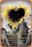 BIGYAK Corazón de girasoles lata 20 x 30 cm con aspecto vintage, decoración para el hogar, cocina, baño, granja, jardín, garaje, citas inspiradoras decoración de pared