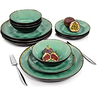 Singer Palm Beach Porcelain Dinner Service Set 12 Pieces Rice Effect | Capacity The Bowls 550 ml | Dinner Set of Dinner Plates, Dessert Plates and Bowls in Vintage Look