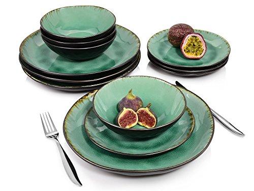 Sänger Tafelservice Palm Beach – 12 teiliges Geschirr-Service für 4 Personen, farbiges Teller-Set aus Steingut mit Servierteller, Dessertteller und Schalen, Vintage-Look durch Reißlack-Effekt