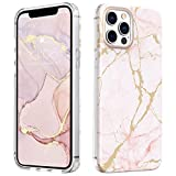 MATEPROX Marmo Design Cover per iPhone 12 PRO/iPhone 12 Custodia, TPU+PC Duro Posteriore Cover, Glitter Marmo Protettiva Cover per iPhone 12 PRO/iPhone 12 6.1'' 2020-Rosa Satinato