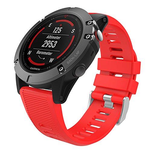 MoKo Correa de Reloj Compatible con Garmin Fenix 3/3 HR/5X/5X Plus/6X/6X Pro/Quatix 6X Solar/Enduro/Descent Mk2i/Mk2/Mk1/Tactix Bravo/Charlie/Delta, Pulsera de Reemplazo de Silicona Suave - Rojo