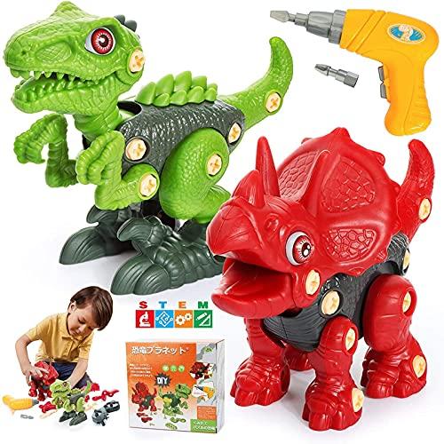 恐竜 おもちゃ 知育玩具 恐竜 パズル 組み立て 人気 大工さんごっこ 電動ドリルおもちゃ DIY 子供おもちゃ 2種類セット STEM 男の子 女の子 誕生日 クリスマスプレゼント 6歳以上対応