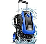 Electric Pressure Washer 3350 PSI 2.55GPM mrliance Pressure Washer 1800W Power Washer with New Retractable Handle,4 Nozzles&Detergent Bottle,Compact Design for Home,Garden,Car (Blue)