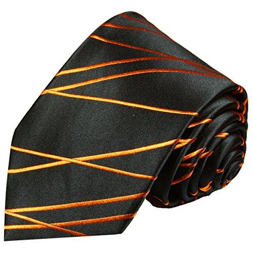 Cravate homme orange noir rayée 100% soie