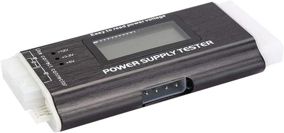 ATX SATA Power Supply Tester, Portable Aluminum Alloy PC Power Supply Tester, Mini Universal High Precise Supports Automatically Alarm for ATX, BTX, ITX, TFX