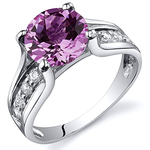Peora Created Pink Sapphire Solitaire Ring Sterling Silver 2.75 Carats Size 6