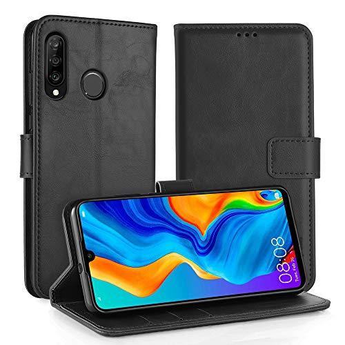 Simpeak Hülle Kompatibel mit Huawei P30 Lite [6,0 Zoll], Handyhülle Kompatibel für P30 Lite Flipcase Leder [Kartensteckplätze] [Stand Feature] [Magnetic Closure Snap] - Schwarz
