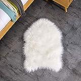 Teppich Wölkchen Lammfell-Teppich Kunstfell Schaffell Imitat | Schlafzimmer Wohnzimmer Kinderzimmer | Als Matte für Stuhl Sofa oder Faux Bett-Vorleger (Weiss - 55 x 80 cm) - 8